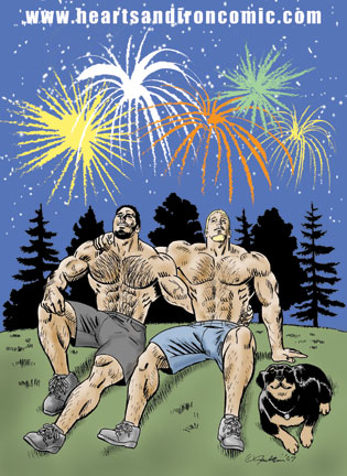 Carl, John and rex of Hearts and Irion watch fireworks